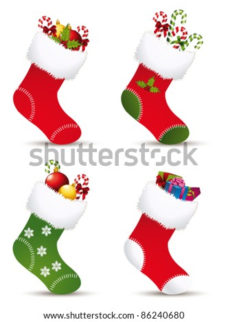 Christmas stocking collection. Vector