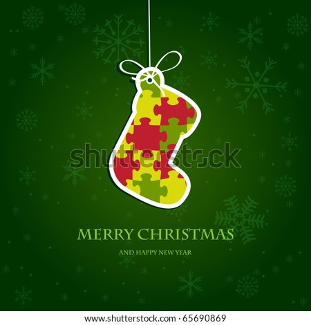 Christmas stocking from jigsaw puzzle