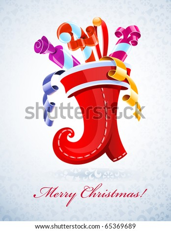 christmas stocking with gift vector illustration
