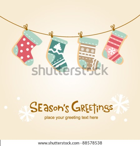Christmas stockings, cute greeting card - stock vector