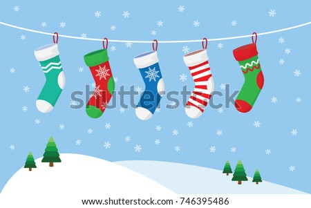 Christmas stockings for presents, hanging on a rope. vector illustration