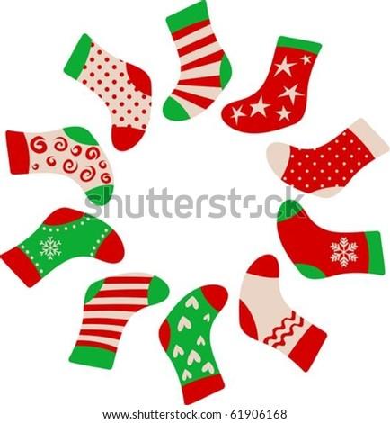 Christmas stockings framed template