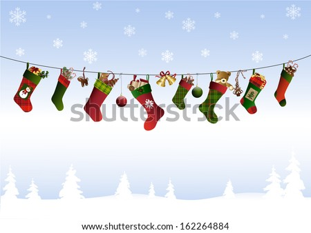 christmas stockings on a line