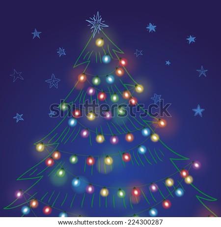 Christmas String Lights. Vector Illustration. - 224300287 : Shutterstock