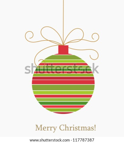 Christmas striped ball. Vector illustration