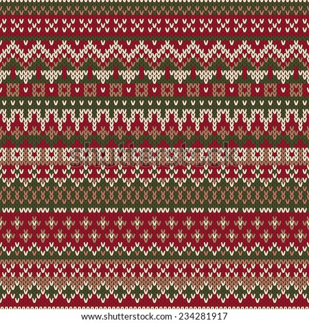 Christmas Sweater Design Seamless Knitted Pattern In Traditional