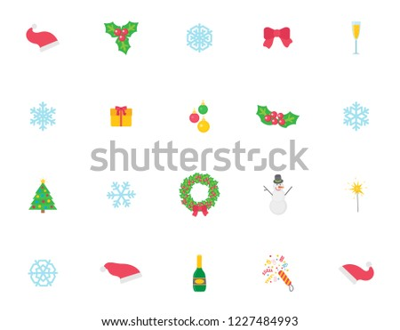 Christmas symbol and icons, traditional items isolated set vector on white background. Bow made of ribbon, Santa Claus hat and mistletoe with berry and leaves, wreath