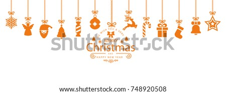 Christmas symbol elements hanging, Merry Christmas, Happy New Year – stock vector