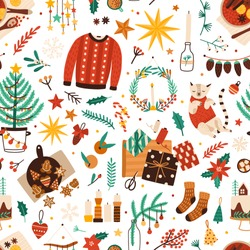 Christmas symbols flat vector seamless pattern. Winter season attributes texture. Traditional xmas accessories decorative backdrop. Fir tree, warm clothes, presents and sweets illustration.