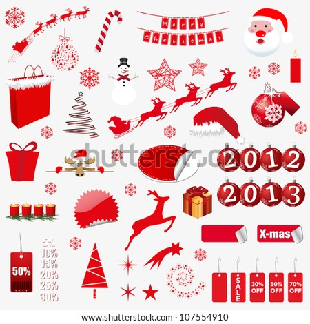 christmas symbols. vector illustration