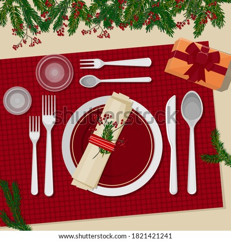 Christmas table setting. Plates, cutlery, napkins, glasses, decorations, gifts and decor. Branches of a Christmas tree and berries. Vector illustration. Top view Photo stock ©