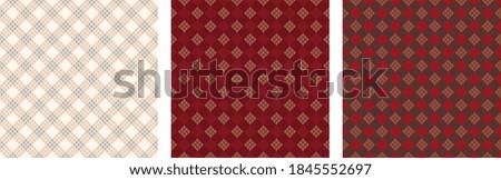 Christmas tablecloth pattern abstract gingham, glen check, tartan plaid motif New Year textile decoration. Minimal geo motif vintage atmosphere ornament golf texture. Cotton fabric allover print block Photo stock ©