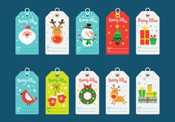 Christmas tags collection. Vector illustration in a flat style