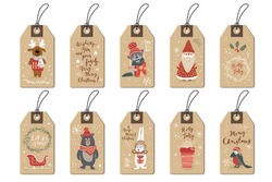 Christmas tags set, doodle hand drawn style. Vector illustration.
