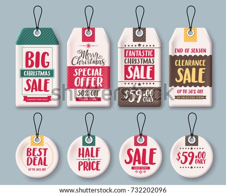 christmas tags vector template set and price tags in white paper with sale discount and