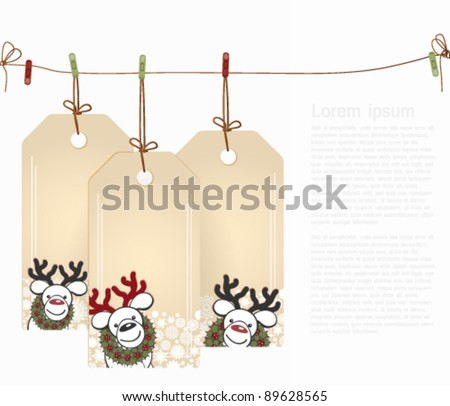 Christmas tags with elements of the Christmas decor.