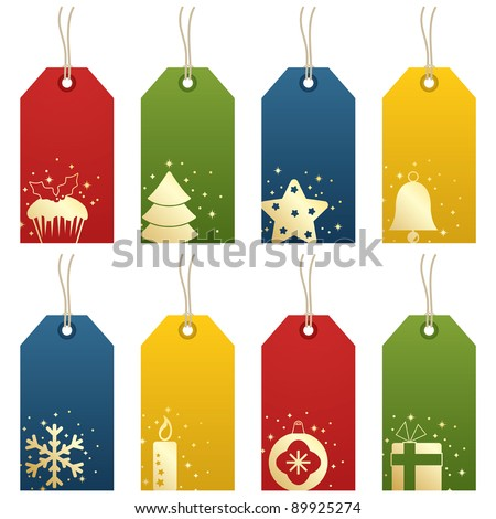 christmas tags with festive decorations isolated on white