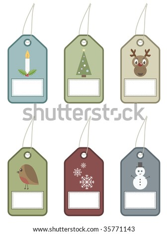 christmas tags with festive motifs