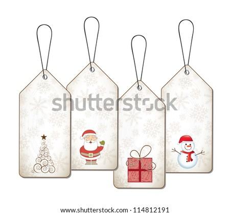 Christmas tags with gifts, tree, Santa Claus and snowmen vector illustration