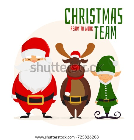 christmas team cartoon santa