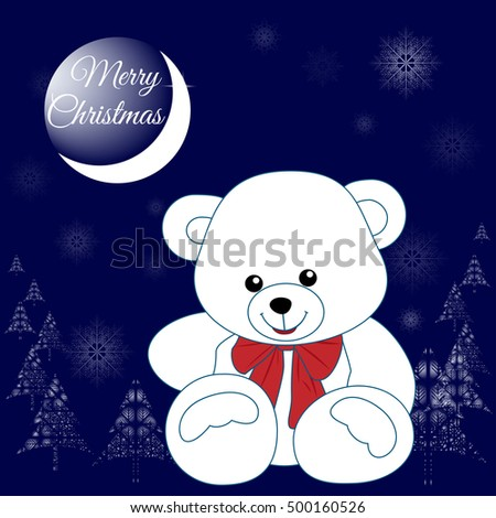 christmas teddy bear sitting