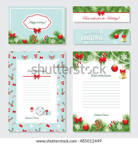 Royalty free christmas templates set letter from for Cheap letters from santa claus