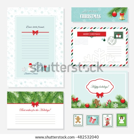 christmas templates set letter