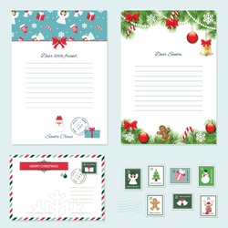 Christmas templates set. Letter from Santa Claus, Letter to Santa, envelope, postage stamps. Pattern with angels added in swatches.