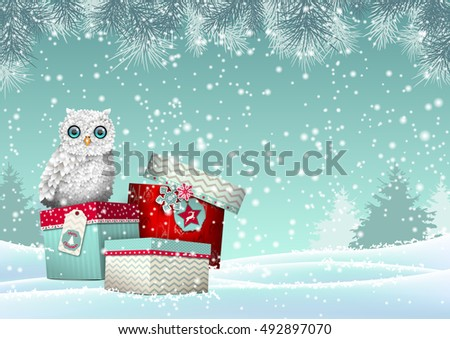 christmas theme  cute white owl