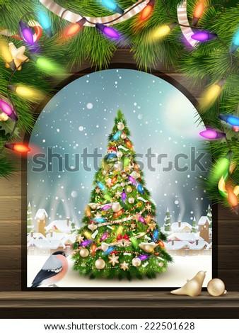 christmas theme   window with a
