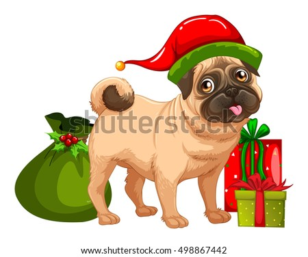 christmas theme with cute dog