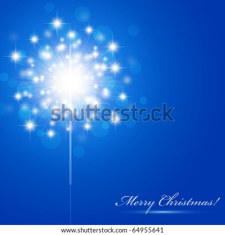 Christmas theme with sparkler and copyspace