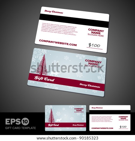 Christmas themed holiday gift card template design - stock vector