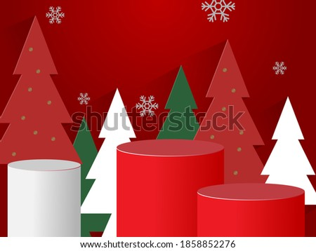 Christmas themed podium Vector in December.