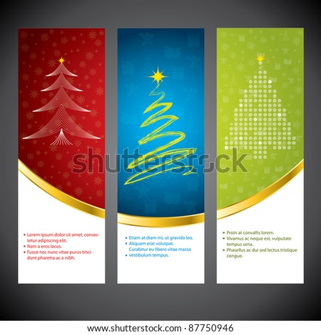 Christmas time banner set in various colors and design