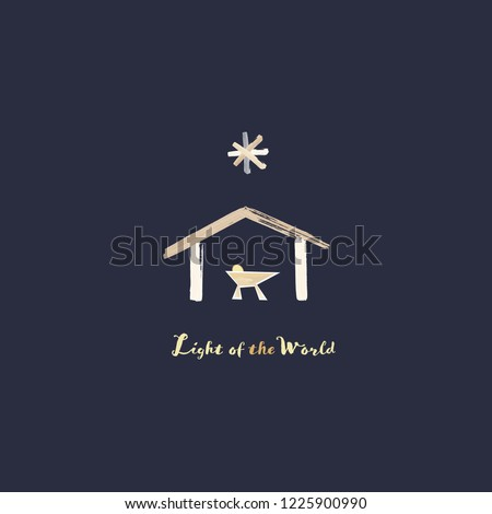 Christmas time. Manger with baby Jesus and star of Bethlehem in watercolor style. Text : Light of the world.