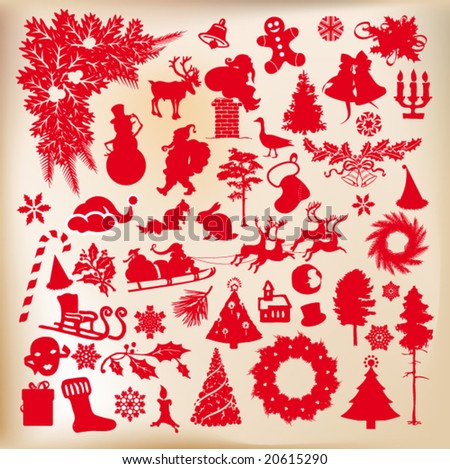 christmas time shapes set of vector designs