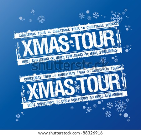 Christmas tour stamps set. - stock vector