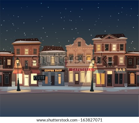 christmas town illustration
