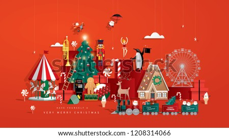 christmas toy store greeting card template vector/illustration #1208314066