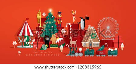 christmas toy store greeting card template vector/illustration - Shutterstock ID 1208315965
