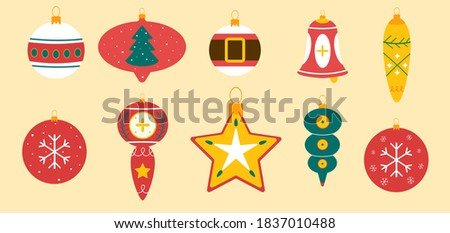 Christmas toys for trees. New year toys. Xmas toy. Toys decoration. Happy new year toys. Set Xmas toy.