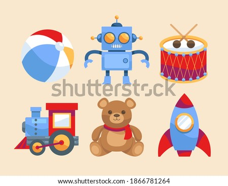 Christmas toys. Kids toys set. Plaything, bauble, trick. Toy, kid, child preschool.  ストックフォト ©