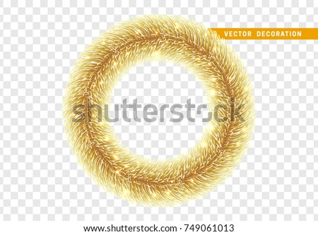 Christmas traditional decorations, golden lush tinsel. Xmas circle wreath garland, isolated realistic decor element