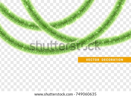 Christmas traditional decorations green lush tinsel. Xmas ribbon garland isolated realistic decor element