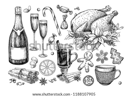 Christmas traditional food and drink set. Holiday treats vector drawing. New Year festive sweets. Mulled wine, turkey, champagne, gingerbread cookie, candy and spices. Hand drawn dinner icons