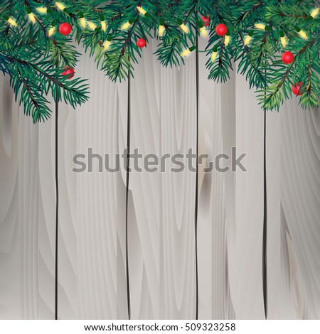 Christmas tree  and decor light on plank wooden with copy space. Concept design for greeting card, poster, banner to celebrate new year season in vector illustration #509323258