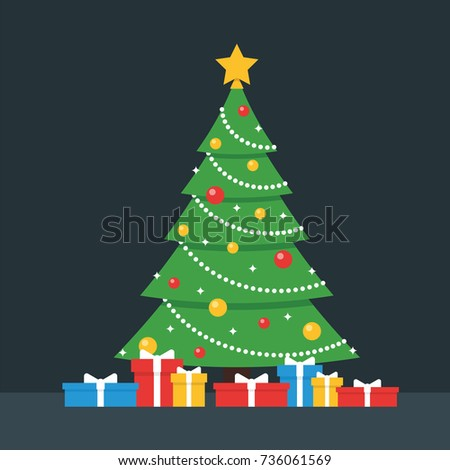 Christmas Tree and Gift Boxes Vector Illustration
