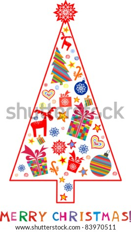 Christmas Tree and Gifts. Christmas card. vector illustration