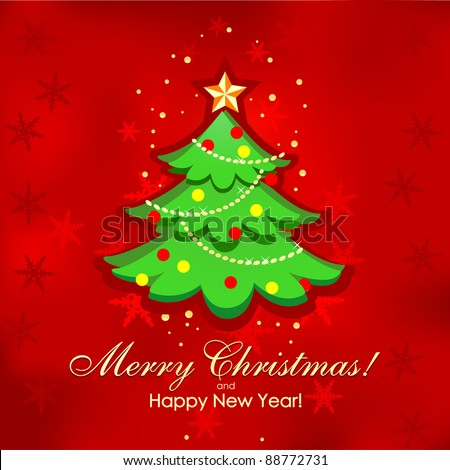 Christmas tree and Happy New Year vector background.